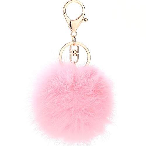 Schlüsselanhänger plüsch Ball Keychain Elegant Plüsch-Kugel Auto-Anhänger Taschenanhänger bommel Pompom Weich Schlüsselring Handtaschenanhänger Dekor (Pink-B)