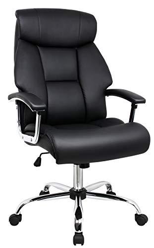 Amoiu Bürostuhl, Sessel für Computer aus Kunstleder, Rückenlehne, große Sitzfläche, komfortable Kopfstütze und gepolstertes Kissen, Schwarz
