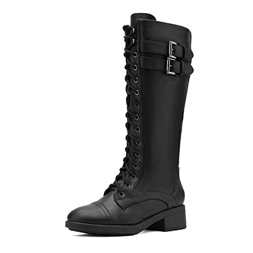 DREAM PAIRS Women's Georgia Black Faux Leather Pu Knee High Riding Combat Boots - 9.5 M US
