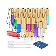 Essential Oil Roller Bottles, 24 Pack 12 Color 5 ml Glass Roller Bottles with Stainless Steel Roller Balls and Golden Hanging Lids(3 Dropper, 6 Extra Roller Balls, 2 Bottle Opener Included)