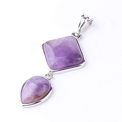 Stone Pendant Necklaces For Women,Silver Inlaid Double Geometric Natural Purple Amethyst Simple Fashion Reiki Power Stone Pendant Christmas Jewelry Gifts Anniversary Birthday Gift For Her Wife Girls