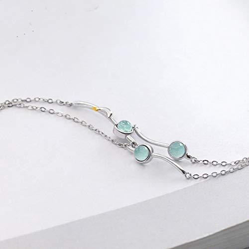 xinyawl Pulsera original de plata 925 delfín piedra preciosa dos capas pulsera música del mar pulsera señoras joyería cadena enlace pulsera