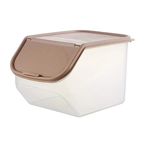Keepbest Reisbehälter, transparent, Lebensmittelqualität, PP Reisfass mit Messbecher, braun, Large