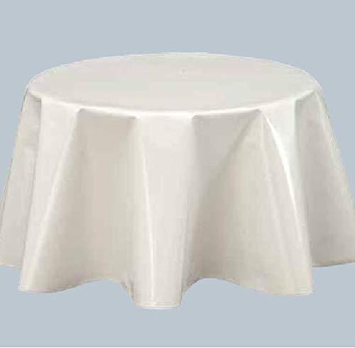 Mantel impermeable de tela encerada redonda, 160 cm, PVC-E-Liko, color blanco
