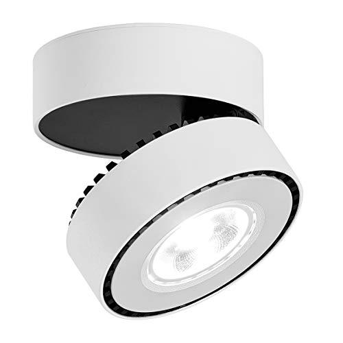 LANBOS 12W LED Aufbauleuchte Deckenleuchte/Deckenspots, Deckenfluter, Deckenstrahler, Decken-Lampe, Wand-Lampe/10x10x6CM/ COB Lampe/6000K kaltweiß/Aluminium (Weiß+kaltweiß)