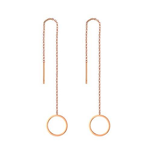 JewelryWe - Orecchini a catena, lunghi, con nappa, in acciaio inox, leggeri, per donne e ragazze e Acciaio inossidabile, colore: Rosegold(circle), cod. JW189P0053