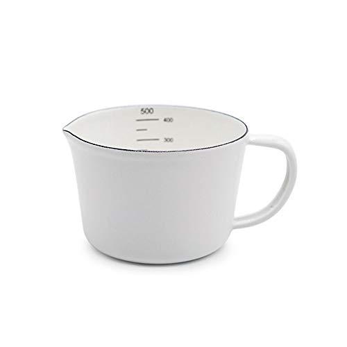 HARVESTFLY Emaille Messbecher Retro Emaille Behälter Messbecher Milchbecher Wasserbecher 0,5 Liter Weiß