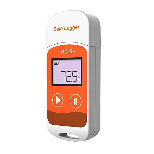 温度データーロガー デジタル温度計 RC-5+進化版 小型 USB一体型 32000ポイント LCD表示 簡単に温度を記録し、解析できるデータロガー 温度警告 レポート自動生成