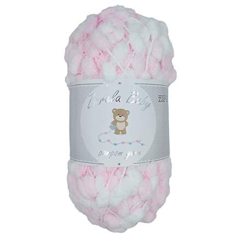 Zarela Baby Pom Pom Yarn Wool (06 White-Pink)