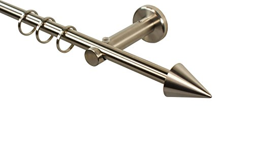 Edelstahl Gardinenstange 12 mm zur Wandmontage mit Endstück Kegel, 160 cm