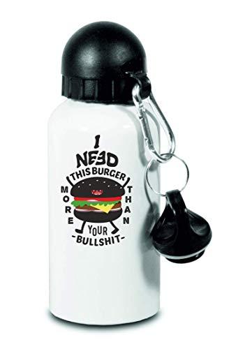 Drucklebnis24 I Need This Burger - Botella de agua para niños, escuela, deportes, fitness, color Blanco, tamaño 500 ml