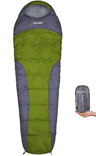 WhereTomorrowSchlafsack Small and Light 220x 80x 50 cm - kleines Packmaß 26x14 cm, Ultraleicht 700g - ideal für 3 Jahreszeiten - Grau/Olivgrün