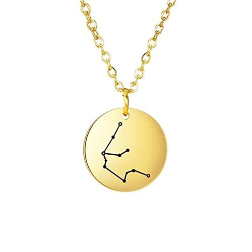 Collar del Zodiaco de Acero Inoxidable Mujeres niñas 12 constelación Leo Gemini Tauro Aries Libra Virgo Colgante Collares