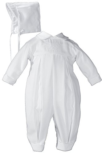 Little Things Mean A Lot Pleated Boys Christening Baptism Coverall with Embroidered Shamrock Cluster and Hat, 12 Months White