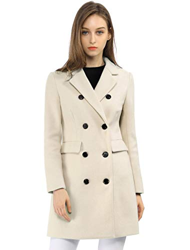 Allegra K Women's Winter Coat Elegant Notched Lapel Double Breasted Trench Coat