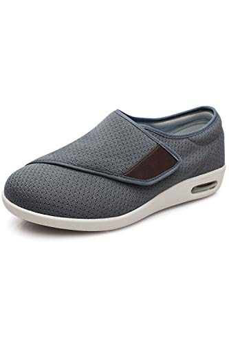 DENACARE Men's Wide Width Shoes with Adjustable Closure Lightweight for Diabetic Edema Plantar Fasciitis Bunions Arthritis Swollen Feet Grey