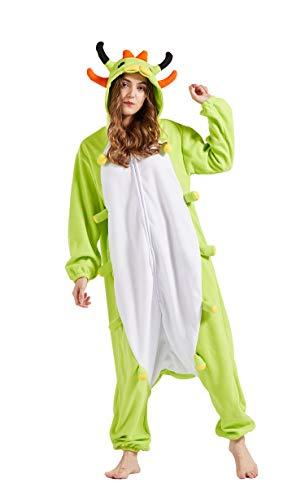 Pijama Animal Entero Unisex para Adultos con Capucha Cosplay Pyjamas Ropa de Dormir Traje de Disfraz para Festival de Carnaval Halloween Navidad Oruga M(156-167CM)