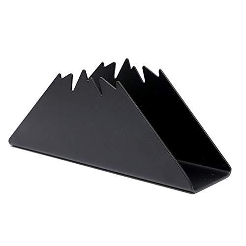 Servilletero triangular para mesa, soporte de servilleta de metal, organizador de toallas independiente, dispensador de pañuelos estable antioxidante para encimeras de cocina, (negro)
