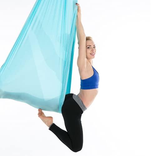 Pokerty9 Columpio de Yoga aéreo Duradero para Ejercicios, Hamaca de Yoga, Principiantes elásticos de Fibra de Poliamida para Profesionales(Sky Blue)