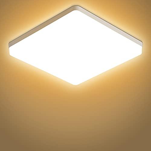 Dehobo Lampada da Soffitto Led Cucina 48W, Plafoniera LED Moderno IP44 Impermeabile Bianco Caldo 3000K, Plafoniera Luce Quadrata 4320LM per Bagno Cucina Sala Soggiorno Corridoio Ufficio