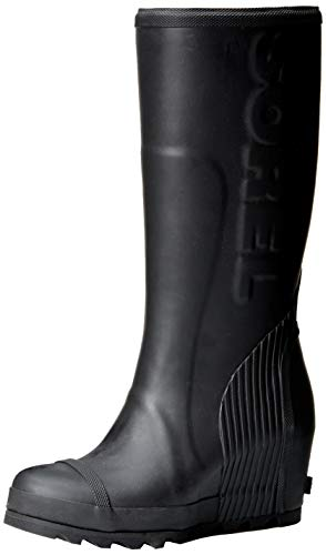 Sorel Women's Joan Rain Wedge Tall Boot, Black, sea Salt, 7 M US