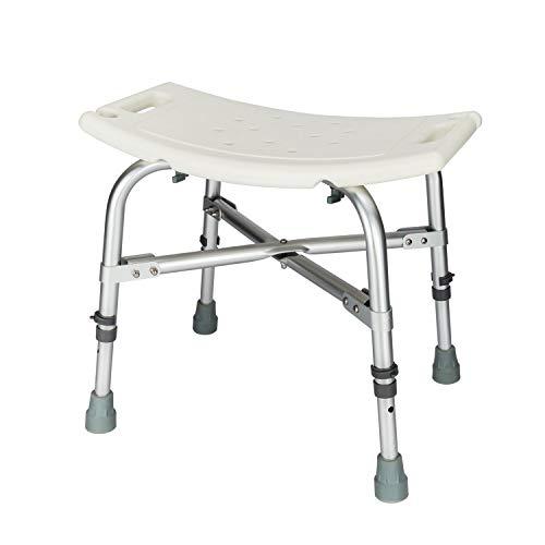 Kücheks Höhenverstellbarer Badeduschstuhl & Aluminiumlegierung ältere Badewanne Duschbank Badstuhl mit Rückenlehne (Heavy Duty A)