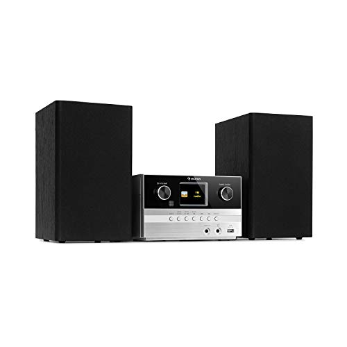 auna Connect System S Mikroanlage, Ausgangsleistung: 20 Wmax., Stereo: inkl. 2 Lautsprechern, Internet- / DAB+ / UKW-Radio, CD-Player: Audio-CD / CD-R / CD-RW / MP3-CD, Bluetooth-Funktion, Silber
