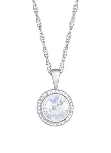 Collar de mujer de plata con colgante de piedra de luna (9 mm), cadena trenzada con colgante redondo de plata de ley 925, cadena de plata con colgante para mujer, cadena de plata de estilo bohemio