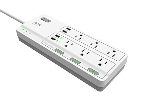 APC Smart Plug Wifi Power Strip with USB Ports, PH6U4X32W, 3 Smart Plugs that Work with Alexa, 6 Outlets Total, 2160 Joule Surge Protector, No Hub Required