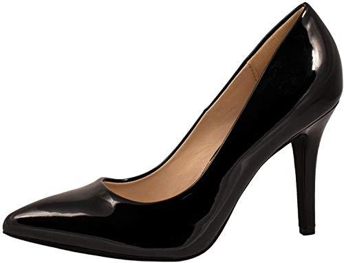 Elara Spitz Damen Pumps Stiletto High Heels Chunkyrayan JA70-Schwarz-40