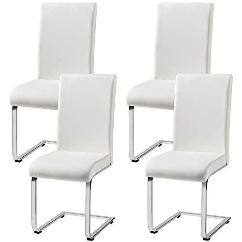 Yaheetech Esszimmerstühle 4er Set Esszimmerstuhl Schwingstuhl Freischwinger stühle mit Rücklehne