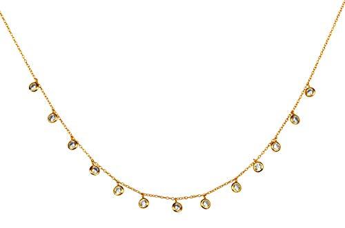 Brandlinger ® Atelier Goldkette Damen aus vergoldetem 925 Sterling Silber mit Zirkonia Steinen. Halskette mit Länge 40 cm + 5 cm