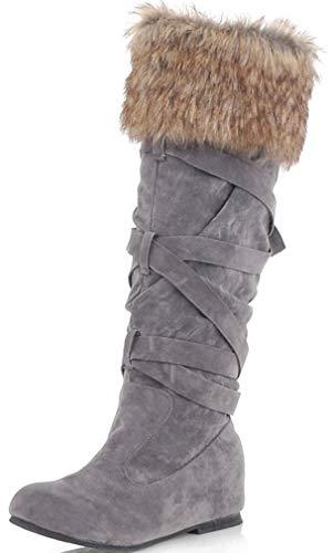 Solshine Damen Langschaft Warm Gefütterte Winterstiefel mit Keilabsatz Schneeboots Schlupfstiefel Grau 40EU