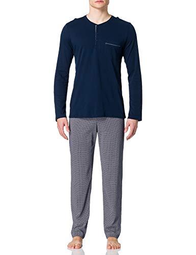 Schiesser Herren Schlafanzug lang Pyjamaset, Nachtblau, 102