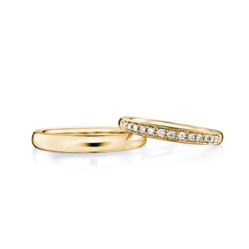 Bishilin Damen Herren Ringe Gold 18 Karat Poliert Breit 2.1MM 2.8MM Verlobungsringe Gold Trauringe mit Diamant 0.11ct Damen Gr.52 (16.6) & Herren Gr.67 (21.3)