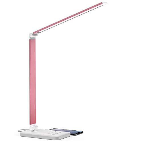 Schreibtischlampe, LED Schreibtischlampe Dimmbar mit USB, Schwenkbar LED Tischlampe Bürolampe, 5 Farb- und 10 Helligkeitsstufen, Touch-Bedienung, Faltbar, Tischleuchte für Büro und Haus (Rosa)