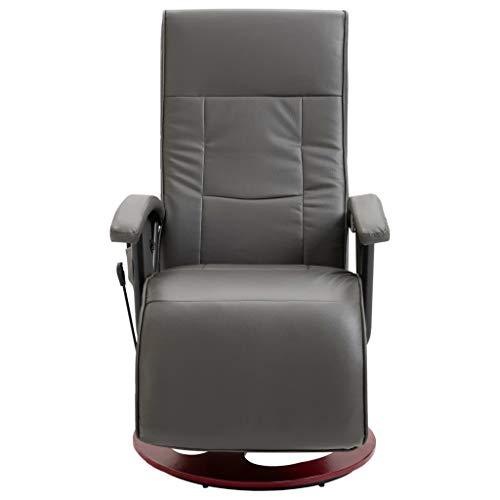 vidaXL Massagesessel Elektrisch mit Massage Taillenheizung Relaxsessel Fernsehsessel TV Sessel Relaxliege Ruhesessel Liegesessel Grau Kunstleder