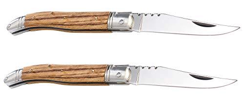 Semptec Urban Survival Technology Messer-Bausatz: 2er-Set 15-teiliger Klappmesser-Bausätze, Echtholz-Griffschalen (Laguiole Messer-Bausatz)