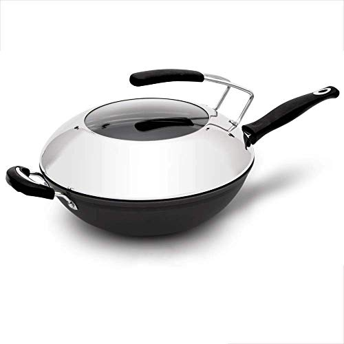Kitchen Non-stick Frying Pan Cooking Pot Wok Pan with Premium Lid Inch Stainless Steel Fry Pan with Ergonomic Handle and Non-Stick Scratch-Resistant Surface - Sturdy (Size : L) Dishwasher Safe