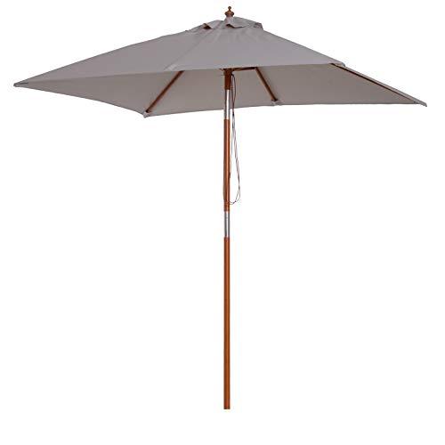 Outsunny Sombrilla Parasol 200x150cm de Bambú Madera para Jardín Terraza Patio Playa Doble Techo Ángulo Inclinable Rectángulo Mástil de 38mm Gris