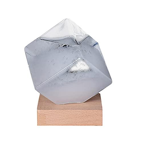 Prévisions météo Baromètre Eau Cube Tempête Glass Météo Prédicteur Desktop Decor Accueil Décoration de Bureau Verre Artisanat Cadeaux (Color : Light Grey, Size : 94x94x110 MM)