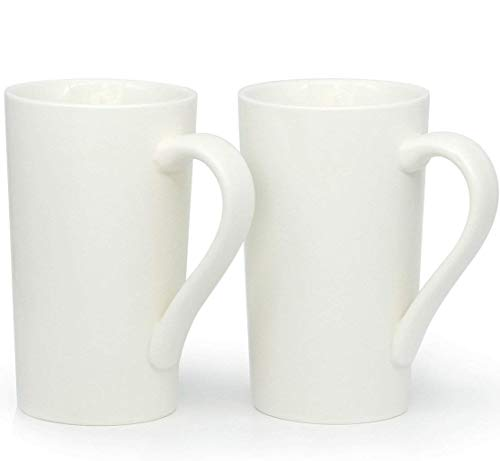 20 Ounces Large Coffee Mugs, Smilatte M007 Plain Tall Ceramic Cup with Handle for Dad Men, Set of 2, White