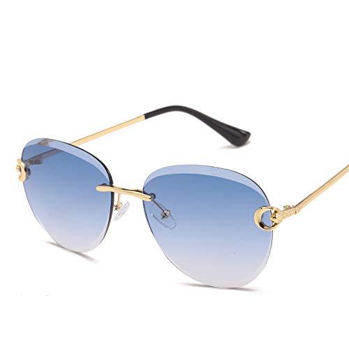 gumeng Nuevas gafas de sol europeas y americanas gafas de sol ovaladas sin bordes de corte sin marco gafas de sol de metal de color transparente para mujer marea