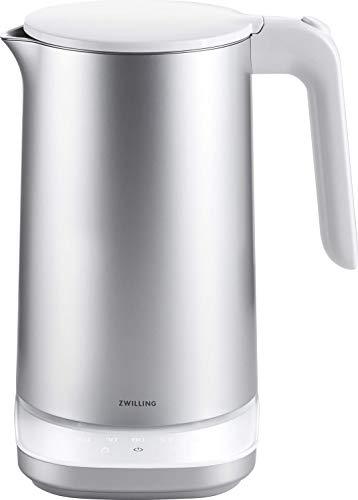 ZWILLING Enfinigy Wasserkocher Pro, 1,5 Liter, 1.850 Watt, mit 7 Programmen, Warmhaltefunktion, Babynahrung erwärmen, Edelstahl/Kunststoff, Silber/Weiß