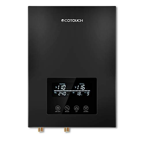 Tankless Water Heater Electric,ECOTOUCH 9KW 240V On Demand Water Heater Self-Modulating Instant Hot Water Heater ECO90 Black
