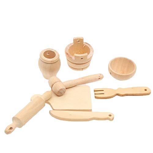 IPOTCH Mini Juguete de Madera Utensilios Vajilla de Cocina en Miniatura para Niño Niña Jugar