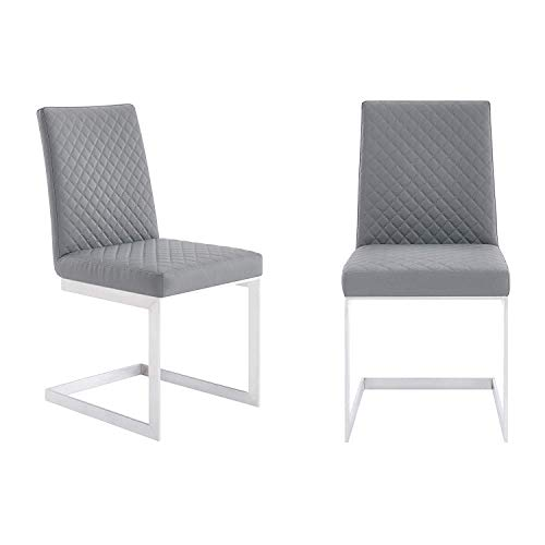 Armen Living Dining Chair in Brushed Stainless Steel - Set of 2