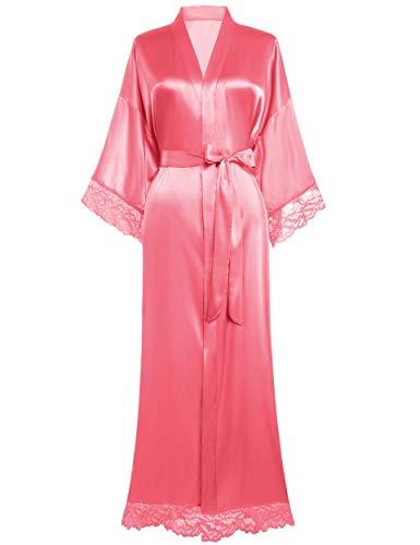 BABEYOND Damen Morgenmantel Lang Kurz Einfarbiger Bademantel Spitzen Ärmel Seide Satin Kimono Kleid Damen Sommer Robe Reine Farbe Schlafmantel (Lang - Pink)