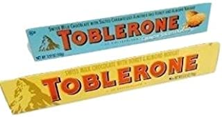 Chocolate Delight- Toblerone Swiss Chocolate Decadence. Show Your Love with Melt-in-your-mouth Deliciousness. Two Popular Flavors: Honey Almond & Exciting New Crunchy Salted Almond. 2-pc
