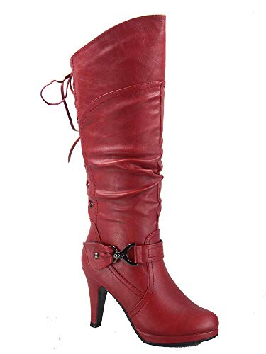Top Moda Page-65 Women's Sexy Back Lace Up Side Zipper Low Heel Platform Knee High Boots Shoes (7.5 B(M) US, Red)